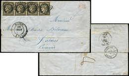 Let EMISSION DE 1849 - 3    20c. Noir Sur Jaune, BANDE De 4, Un Ex. Filet Effleuré Sur 1cm., Obl. GRILLE S. LAC, Càd T14 - 1849-1850 Ceres