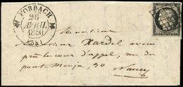 Let EMISSION DE 1849 - 3a   20c. Noir Sur Blanc, Obl. GRILLE S. LAC, Càd T12 FORBACH 26/4/50, TTB - 1849-1850 Ceres