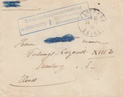Env Obl NANTERRE Du 24.11.14 Adressée à Strassburg Avec Cachet Kriegsgefangenesendung / Kommandantur / Strassburg I. E - Poststempel (Briefe)