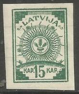Latvia - 1919 Sun Design 15k  MH *  (Printed On Lined Paper - 3 Lines)   Mi 5  Sc 5 - Latvia