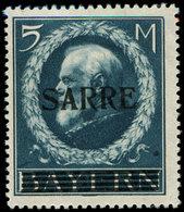 * SARRE 30 : 5m. Bleu, Ch. Légère, TB, Certif. JF Brun - 1920-35 Société Des Nations