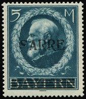 * SARRE 30a : 5m. Bleu, S De SARRE Sans Boucle Inférieure, RR Et TB, Cote Maury. S - 1920-35 Société Des Nations