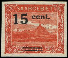 ** SARRE 72d : 15c. Sur 40pf. Rouge, NON DENTELE, TB - 1920-35 Société Des Nations
