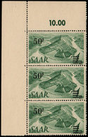 ** SARRE 228A : 50f. S. 1m. Vert, BANDE De 3 Cdf Avec 10,00, Papier Jaunâtre, TB - 1920-35 Société Des Nations