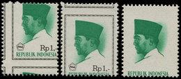 ** INDONESIE 465 : 1r. émeraude, 3 Variétés Différentes, 2 Piquages Différents Et Un T. Sans Le Cadre Ni Valeur, TB - Indonesia