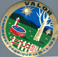 Camembert  Valor Maine & Loire 49k Ancienne étiquette Fromage Cheese Label - Kaas