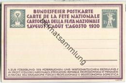 Bundesfeier-Postkarte 1920 - 7 1/2 Cts - W. Hartung Turner - Stamped Stationery