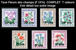 REUNION 1964-65 - Yv. Taxe 48 à 54 (=FR TX95/102 +S.) **   Cote= 5,75 EUR - Fleurs Des Champs (7 Val.)  ..Réf.FRA29085 - Réunion (1852-1975)