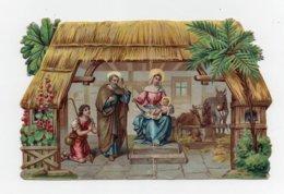 CHROMO Image Pieuse Découpis Gaufrée Naissance De L'enfant Jésus Boeuf Ane Mage - Motiv 'Weihnachten'