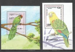 S1202 1989,1995 KAMPUCHEA CAMBODGE FAUNA BIRDS PARROTS 2BL MNH - Parrots