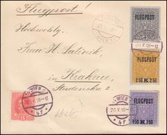 Österreich 225-227 Flugpost-Satz Mit ZF, Brief FLUGPOST WIEN 21.5.18 Nach Polen - 1850-1918 Imperium