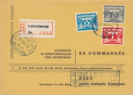 Nederland / Portugal - 1946 - 1, 1,5 & 15 Cent Vliegende Duif Tricolore Op R-card, First Flight Amsterdam - Lisboa - Luftpost