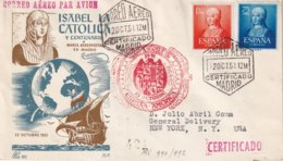 ESPAGNE 1951 LETTRE RECOMMANDEE DE MADRID AVEC CACHET ARRIVEE NEW YORK - 1951-60 Covers