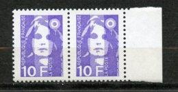 France, Yvert 2626b**, Marianne Du Bicentenaire 10f  Violet 2 Bandes De Phosphore Tenant à 1 Bande, MNH - Variétés Et Curiosités
