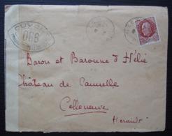 Uzès (gard) 1944 Lettre Ouverte Par Les Autorités De Contrôle (censure) Lettre L Dans Un Carré à L'arrière - Poststempel (Briefe)