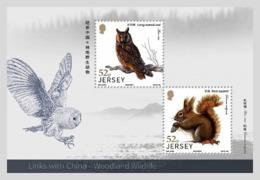 Jersey 2019 MS MNH Links With China - Woodland Wildlife Owls Owl Squirrel  Bird Birds Oiseau Oiseaux - Rodents