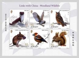 Jersey 2019 MS MNH Links With China - Woodland Wildlife Owls Owl Squirrel  Bird Birds Oiseau Oiseaux - Owls