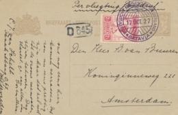 Nederlands Indië / Nederland - 1927 - Fl. 2,50 Wilhelmina Op Briefkaart G35 Van Batavia - Koppenvlucht Naar Amsterdam - Niederländisch-Indien