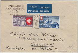 Schweiz - 30+10 C. Landesausstellung Luftpostbrief N. RUMÄNIEN Kandersteg 1939 - Svizzera