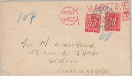 Schweiz - 50+10 C. Portomarke Schiffspostbrief Post Office Maritime - Genf 1946 - Postage Due