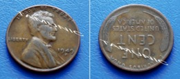 UNITED STATES USA 1 Cent ONE CENT 1949 D - LINCOLN - 1909-1958: Lincoln, Wheat Ears Reverse