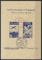 BLOC PREMIERE EXPOSITION DE PROPAGANDE PHILATELIQUE FOIRE DE LYON SEPTEMBRE 1937 - Erinnofilia