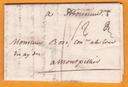1739 - Marque Postale ROCHEFORT, Charente Inférieure Sur Lettre Pliée Avec Corresp 3 P Vers Montpellier, Hérault - Marcophilie (Lettres)