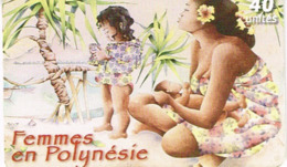 Polynesie Francaise Tahiti Telecarte Phonecard Prepaid PF144 Femme Polynesie Enfant Fleur Plage Ut BE - Französisch-Polynesien