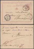BELGIQUE EP 5C DE ERTVELDE 01/05/1875 VERS WOUDELGEM (DD) DC-4128 - Entiers Postaux