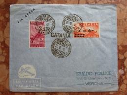 REPUBBLICA - Marcofilia - Aerogramma Partito Da Catania Per Verona - Annullo Arrivo + Spese Postali - 6. 1946-.. Repubblica