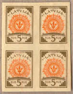 Bof/(*) 1919, 5 R., Olive Brown/orange, Block Of (4), Imperforated (!), Proof On Thin Paper, Ex Hoffmann, Rare, VF!. Est - Letland