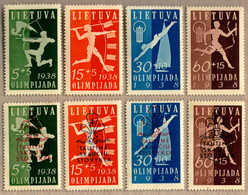 ** 1938, 5 C. + 5 C., - 60 C. + 15 C., 2 Sets, (8), First National Olympiad Fund And Scouts And Guides National Camp Fun - Litouwen