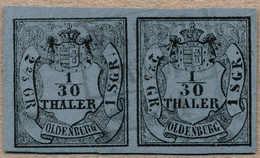 O/pair 1852, 1/30 Th., Schwarz Auf Blau, Waagrechtes Paar, Type III/I, Wunderschöner Blauer Abschlag, Kastenstempel VARE - Zonder Classificatie