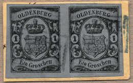 O/piece/pair 1859/61, 1 Gr., Schwarz Auf Blau, Waagrechtes Paar Auf Gelbem Briefstück, Zwei Blaue Stempel VAREL, Luxus,  - Zonder Classificatie