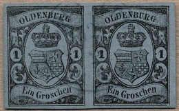 O/pair 1859/61, 1 Gr., Schwarz Auf Blau, Waagrechtes Paar, Blauer Stempel OLDENBURG, Kabinettstück, XF!. Estimate 300€. - Zonder Classificatie