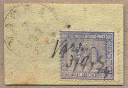 O/pencancel 1872, 30 Gr., (grau)ultramarin, Handschriftliche Entwertung Und Zarter Ortsstempel, Loch Im Briefstück (betr - Zonder Classificatie