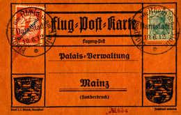 O/cover 1913, 1 M. Auf 10 Pf., Schwärzlichrotorange Auf Hellgraugelb,Gelber Hund +5 Pfg. Dunkelgrün, Germania Auf Ents - Zonder Classificatie