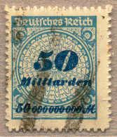 O 1923, 50 Mrd. M., Lebhaftkobaltblau/schwärzlich- Bis Schwarzkobaltblau, Durchstochen, Plattendruck, Balkenstempel, VF! - Zonder Classificatie