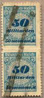 O/pair 1923, 50 Mrd. M., Lebhaftkobaltblau/schwärzlich- Bis Schwarzkobaltblau, Senkrechtes Paar, Durchstochen, Plattendr - Zonder Classificatie