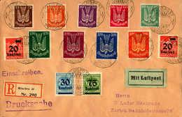 O/cover 1922-23, 25 Pf. - 75 Tsd., Kompletter Holztauben Satz (9) + (4) Notausgaben Infla. Mischfrankatur Auf Schönem Dr - Zonder Classificatie