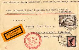 O/cover 1930, 4 RM. + 1 M., Zeppelinbrief Von Südamerikafahrt 1930, Von FRIEDRICHSHAFEN Nach LANDSTUHL über Cabo Verde - Zonder Classificatie