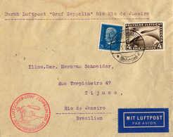 O/cover 1930, 4 RM. + 25 Pf., Zeppelinbrief Von Südamerikafahrt 1930, Von FRIEDRICHSHAFEN Nach RIO DE JANEIRO/Brasilie - Zonder Classificatie