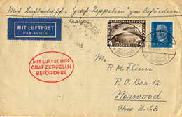 O/cover 1930-31, 4 M, Schwarzbraun (liegendes Wz. Y) Und 4 Pf. Türkisblau, Südamerikafahrt, Zeppelinbrief Nach NORWOOD - Zonder Classificatie