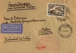 O/cover 1931, 4 RM, Schwarzbraun, Brief Von Friedrichshafen Nach MEDAN/Niederl. Ostindien, Ettape Bis Eisbrecher Malygui - Zonder Classificatie