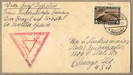 O/cover 1933, 4 RM, Schwarzbraun, Brief Von Friedrichshafen Nach Chicago/USA, Via Zeppelin Von Friedrichshafen Nach Bras - Zonder Classificatie