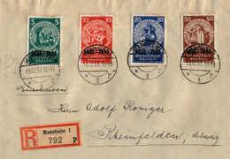 O/cover 1933, 5 + 15 Pf. + 50 + 150 Pf., Satzbrief Mit Allen (4) Werten, Getrennt, Auf Einschreiben-Auslandbrief Von MAN - Zonder Classificatie