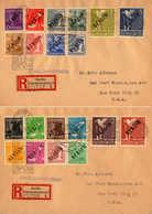 O/cover 1948, 2 Pf. - 5 M., Kompletter Satz Auf (2) Einschreiben-Auslandsbriefen Von BERLIN-CHARLOTTENBURG 2 Nach NEW YO - Zonder Classificatie