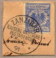 O/piece 1891, 20 Pf., Mittelultramarin, Abschlag ZANZIBAR - Kaiserl. Deutsch Postagentur, 23 /2 91 Auf Briefstück, LUXUS - Zonder Classificatie