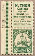 ** 1912, 5 Pf., Dunkelgrün, Aus Markenheftchen, Zusammendruck Mi Nr. S2, Mit Werbung N. THON, Postfrisch, MNH, XF!. Esti - Zonder Classificatie