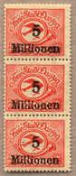 ** 1923, 5 Mio. Auf 50000 M, Senkrechter Dreierstreifen, Mit Abart 180 F I (Aufdruck 5 Mio. Auf 10000 Statt 50000) In De - Zonder Classificatie
